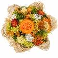 Букет из сухих и стабилизированных цветов Раффия оранжевый