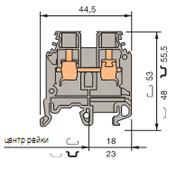 Клеммные соединения M10/10P Клеммник на DIN-рейку 10 мм.кв.(земля) TYCO