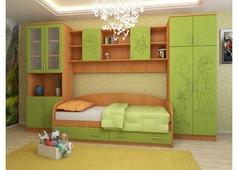 Набор мебели Волк и заяц (ольха, зеленый)