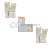 SC28ULESB Ecola LED strip connector комплект L гибкая соед. плата + 2 зажимных разъема 2-х конт. 8 mm