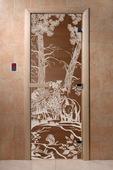 """Дверь для сауны Doorwood серия """"Мишки в лесу"""" бронза"""