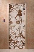 """Дверь для сауны Doorwood серия """"Девушка в цветах"""" бронза"""