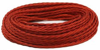 Ретро кабель витой электрический (50м) 2*0.75, красный шелк, ПРВ2075-КРШ Panorama