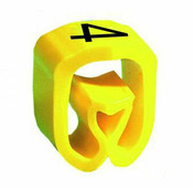 """Маркер закрытого профиля Partex PA-2 на провод 2.5-16.0 мм², символ """"4"""", желтый/черный (пачка 100 шт.) {PA-200..."""