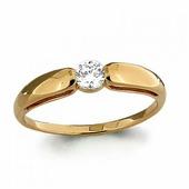 Кольцо из золота 585 пробы с фианитом SWAROVSKI AQUAMARINE 66428