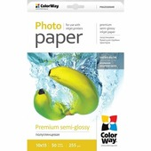 PNG2550504R ColorWay фотобумага premium semi-glossy 255g/m,10x15,50pc