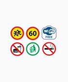 Набор информационных и запрещающих наклеек состоит из 6 значков «дети» «ограничение скорости 60» «Wi-FI» «С едой запрещено» «мусор сюда» «курить запрещено».
