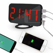 Часы настольные светящиеся, с зарядкой для двух телефонов (красные цифры)