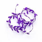 Лента декоративная листики, цвет фиолетовый
