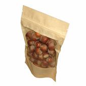 Крафт пакет дой-пак зип-лок 135*225 мм с окном (Гладкая бумага). В упаковке 100шт.