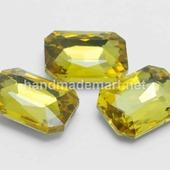 Риволи Прямоугольный Граненый, 10×8×4 мм, Желтый, Стекло, без отверстия