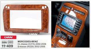 Переходная рамка для установки магнитолы CARAV 11-409 - MERCEDES CL-klasse (C215) 2002-2006; S-klasse (W220) 2002-2006 (под дерево))