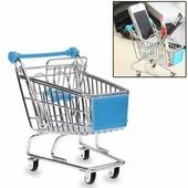 Мини тележка для покупок из супермаркета для настольного хранения или как подставка для телефона (голубая)
