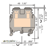 Клеммные соединения M35/16.N Клеммник для установки на DIN-рейку 35мм.кв. (синий) TYCO