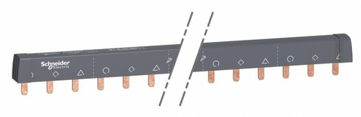 Шинные разводки Schneider Electric Шинная разводка разрезаемая 3-фазная (L1L2L3…) 24 модуля, 18мм, 100А Schneider Electric, A9XPH324