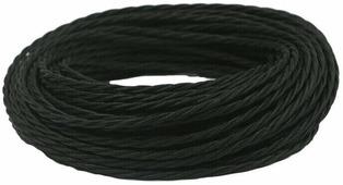 Ретро кабель витой электрический (50м) 2*0.75, черный, ПРВ2075-ЧРН Panorama