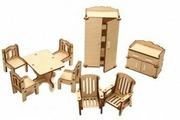 """Набор деревянной мебели """"Зал"""" для конструктора HappyKon """"Кукольный домик"""""""
