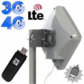 Панельная направленная Антенна MIMO 14/15 дБ BOX 4G LTE / 3G (1700-2700 МГц) со встраиваемым модемом Huawei / ZTE