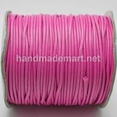 Шнур Вощеный, 2 мм, Полиэстер, Розовый, 1 м
