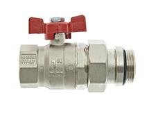 """Thermotech Шаровой клапан 1/2"""", прямой с накидной гайкой и опорным кольцом (арт. 53220) для теплого пола"""