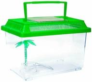 BARBUS Переноска-террариум 16*12*9,5см с пластиковой крышкой, островком и пальмой