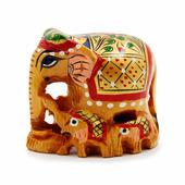 Статуэтки Прочие производители Фигурка слон со слониками расписной (дерево, 5 см.), Джайпур 1 шт.