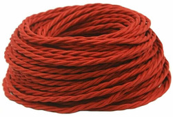 Ретро кабель витой электрический (50м) 2*0.75, красный, ПРВ2075-КРС Panorama
