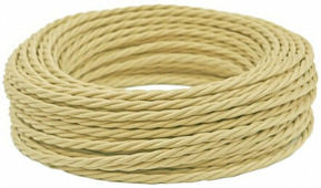 Ретро кабель витой электрический (50м) 2*0.75, слоновая кость, ПРВ2075-155 Panorama