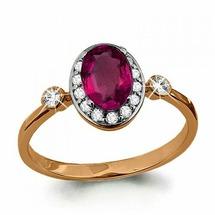 Кольцо с рубином и бриллиантами из золота 585 пробы AQUAMARINE 961792к