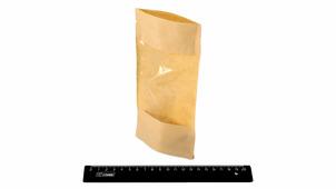 Дой-пак (зип/гриппер) 110мм*185мм, крафт 40гр с полипропиленовым окном на всю сторону пакета и дном 30мм+30мм.DPACK/11