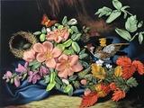"""Набор для вышивания лентами Каролинка """"Гнездо в шиповнике"""", 26,8 х 35,4 см"""