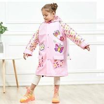 """Дождевик дизайнерский детский """"Бабочка"""" Baziator розовый с карманом под рюкзак размер M"""