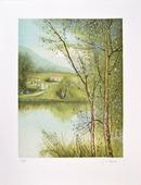 Над водой. Литография. Лист №1. Пейзаж. Автор Жиль Фигье (Gilles Figuier). Париж, 1975 год