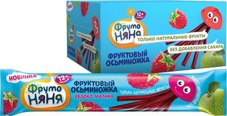 Десерт для детей ФрутоНяня Фруктовые кусочки из яблок и малины, 24 шт по 16 г