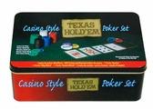 """Набор для покера Компания Игра Металл. банка для покера """"Техас Холдем"""" (2х54л.(карты Австрия)+200 ф. по 4г с номин.+сукно+3 ф.дилера) ГД2 черный, зеленый"""