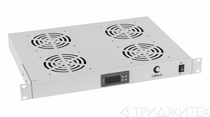 """Cabeus JG03t Модуль вентиляторный 19"""", глубина 320 mm, 4 вентилятора, с цифровым термодатчиком"""