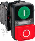 """Кнопка """"Пуск-Стоп"""" со встроенным светодиодом 1но+1нз (в сборе) 220В Schneider Electric, XB5AW73731M5"""