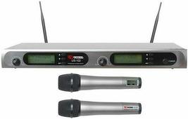 """VOLTA US-102 (600-636MHZ) Микрофонная 100-канальная радиосистема с двумя ручными динамическими микрофонами UHF диапазона (600-636 мГц). PLL-synthes, LCD-дисплей, True Diversity, 1 U 19"""" рэк. размер приемника: 480X145X45MM"""