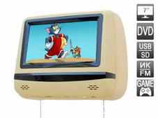 "AVEL Подголовник со встроенным DVD плеером и LCD монитором 7"" AVIS AVS0745T (бежевый)"