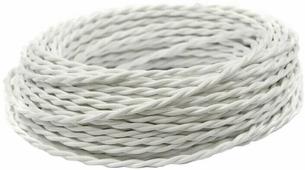 Ретро кабель витой электрический (50м) 2*0.75, белый, ПРВ2075-БЕЛ Panorama