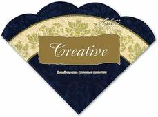 Салфетки бумажные Aster Creative round Синяя с каймой, 3-слойные, 12 шт