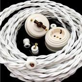 Ретро провод витой в декоративной текстильной оплетке 3х1,5 мм2 белый Царский Стиль RS-13-01