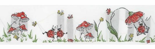 """Тесьма декоративная """"Играющие жуки"""", цвет: белый, желтый, красный, 1 м х 50 мм. 35095-01"""