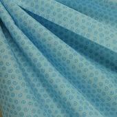 """Ткань Кустарь """"Разноцветный горошек и завитушки №45"""", цвет: голубой, 48 х 50 см"""
