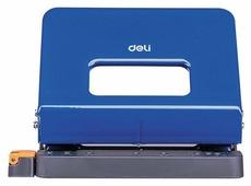 Дырокол Deli E0141blue металлический с линейкой, цвет синий