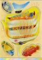 Наклейка ЛиС объёмная 3D c фольгой и стразами 21х31см ПВХ, Рыбы
