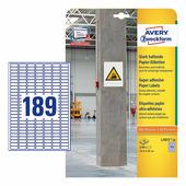 Суперстойкие бумажные этикетки Avery Zweckform 25.4x10 мм (189 шт. на листе A4, 20 листов) {L7871-20}