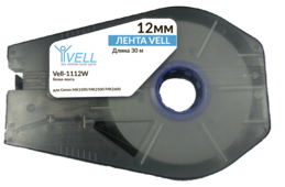 Лента Vell-1112W (белая, ширина 12 мм, длина 30 м) для Canon MK1500/MK2500/MK2600/Partex T800/1000