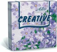 Салфетки бумажные Aster Creative Незабудки, 3-слойные, 25 х 25 см, 20 шт