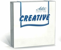 Салфетки бумажные Aster Creative, белый, 3-слойные, 33 х 33 см, 20 шт